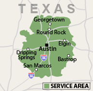 austin service area map
